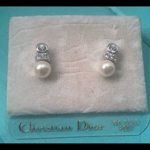 CHRISTIAN DIOR-NEW Pearl & CZ EARRINGS-14k posts